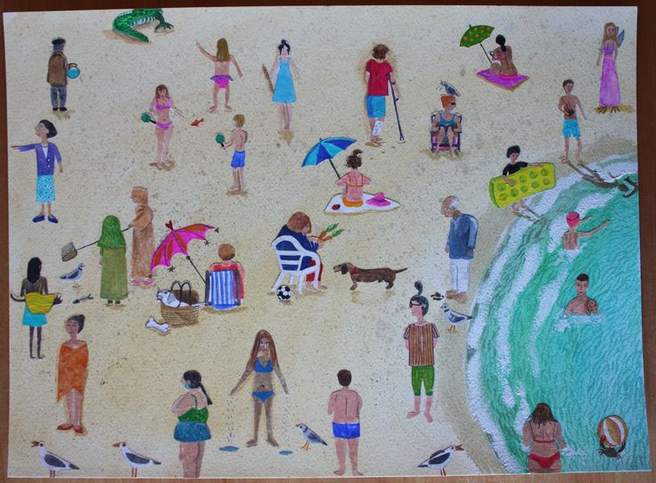 Weird On The Beach: by Ginny Rose Watercolour collage on Bockingford.