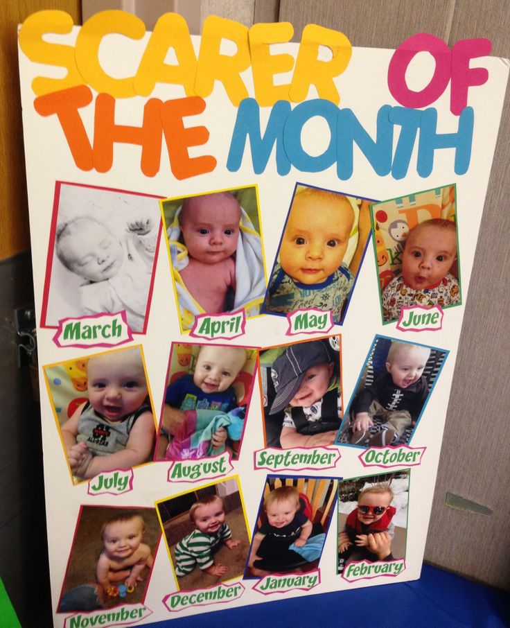 "Monsters, Inc first birthday party ""Scarer of the Month"" poster."