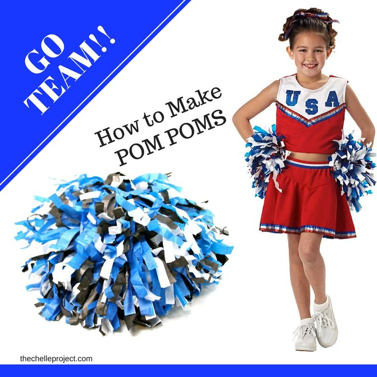 GO TEAM, GO!!!  DIY Cheerleading Pom Pom's -  Learn how to make DIY Cheerleading Pom Pom's to show your team spirit when watching your favorite game! I decided to make Pom Pom's to show team spirit at our little Jozel's volleyball games. It's simple to make and only cost $5.00 for each pair of pom's!... - http://thechelleproject.com/diy-cheerleading-pom-poms/