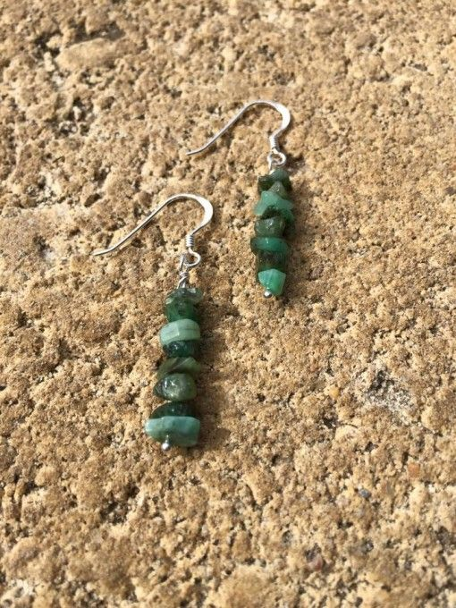 Sterling Silver Emerald crystal gemstone healing earrings. www.divineaura.com.au and join our Facebook family @ www.facebook.com/divineaura123
