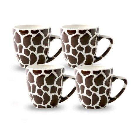 Laurie Gates Jungle Safari Giraffe Mugs, Set of 4: Amazon.com: Kitchen & Dining