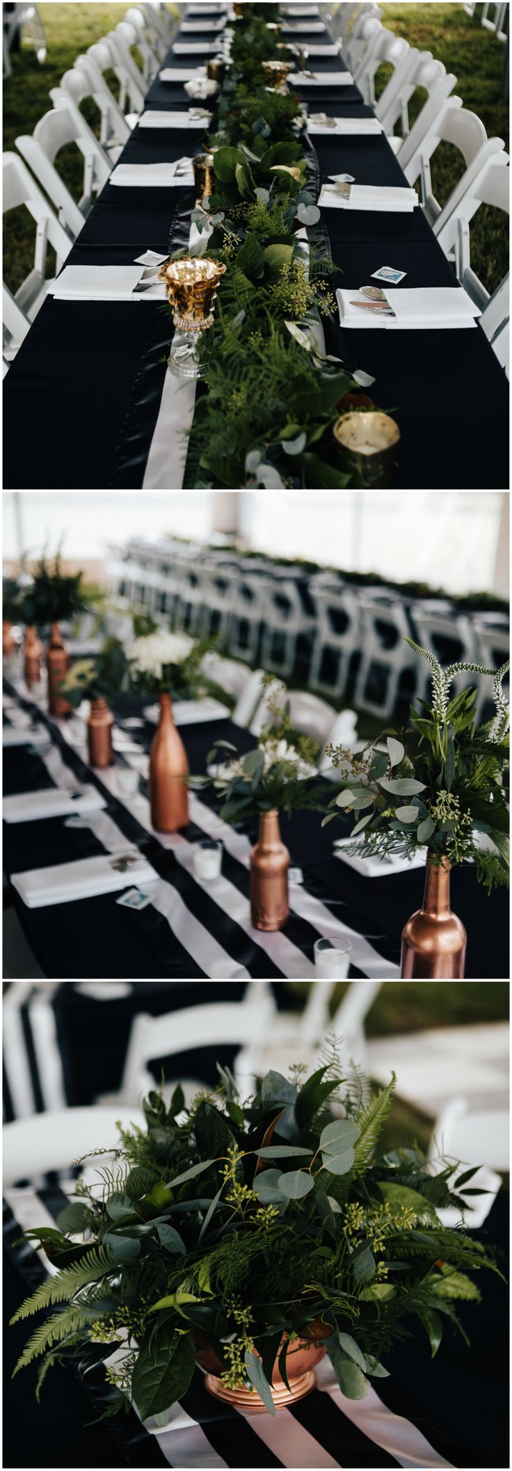 Natural wedding reception decor, copper painted bottles, leafy centerpieces, modern black tablecloths, black and white striped table runner, white napkins // Amanda Sutton Photography