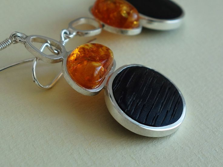Bog wood and sterling silver earrings with Baltic amber  Design&Handmade by K.Tokar