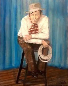 Cowboy Art Will Rogers Portrait 16x20 In. On Canvas Oklahoma Artist Larry Lamb