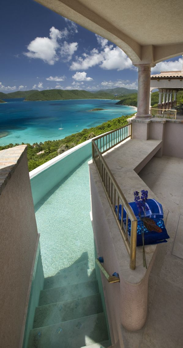 Villa Carlota...St. John, U.S. Virgin Islands - I am going to swim down the stairs and catch you later!