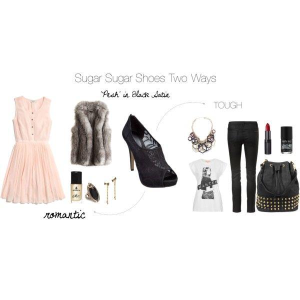 """""""Sugar Sugar Two Ways - Pesh in Black Satin Girly or Tough"""" by sugarsugar-aus on Polyvore"""