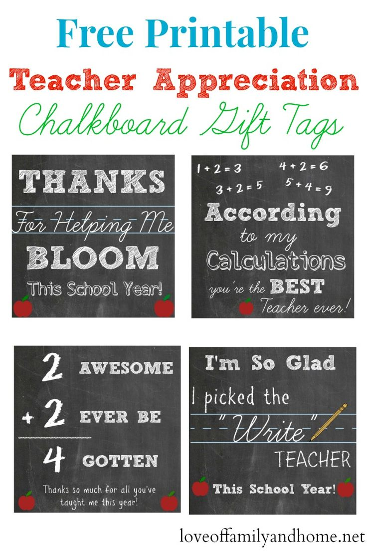 Free Printable Teacher Appreciation Chalkboard Gift Tags # ...