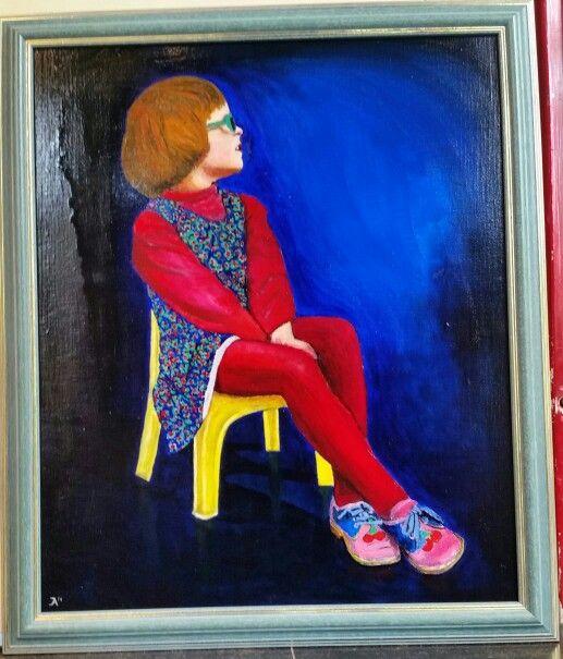 Eva op stoel. Olieverf op linnen 50 x 60 cm.
