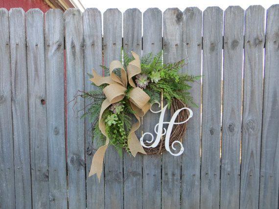 Door Wreath Monogram Wreath Burlap Wreath Succulent Wreath