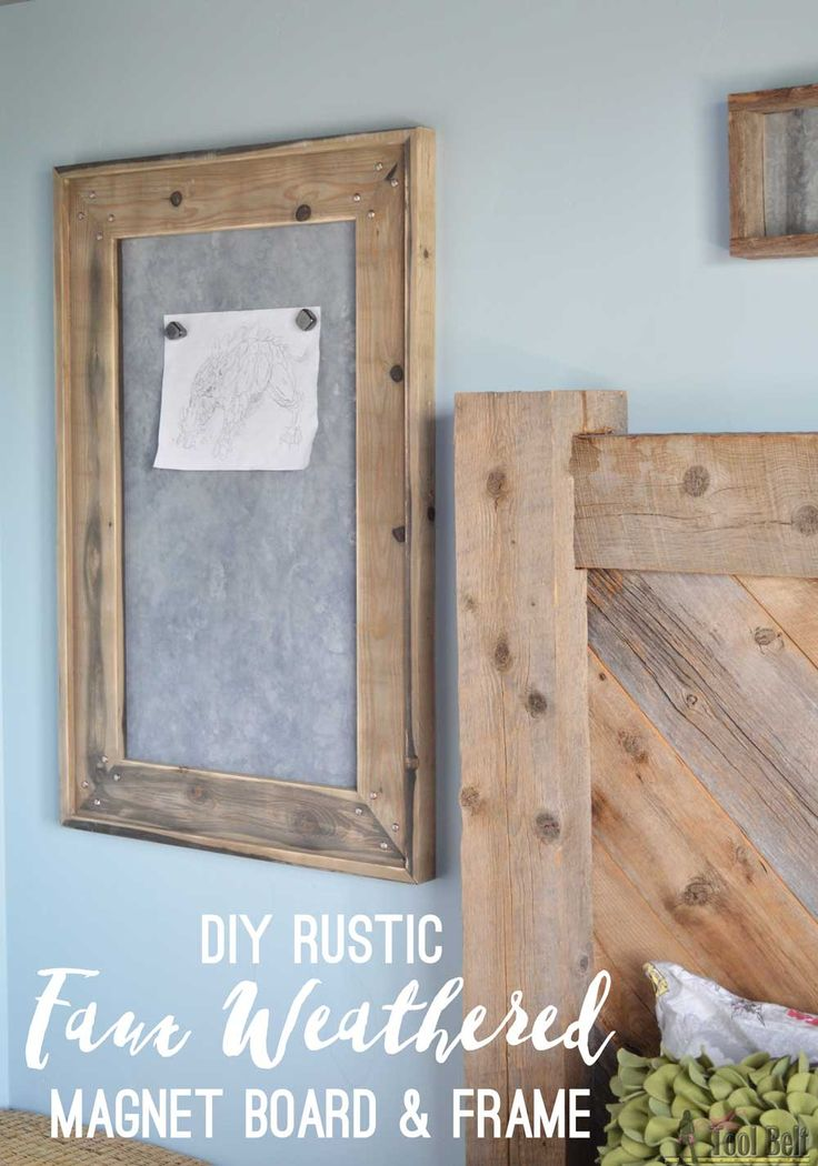 Get the farmhouse style by making new items look old. DIY tutorial to create a faux weathered magnet board for a rustic bedroom.