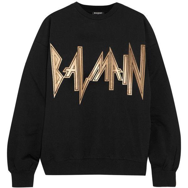 Balmain Oversized printed cotton-jersey sweatshirt (€270) via Polyvore featuring tops, hoodies und sweatshirts