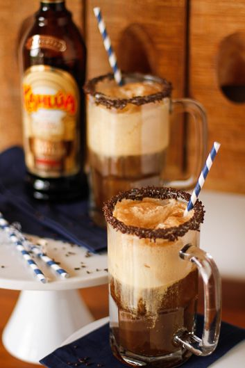 Kahlúa French Vanilla Root Beer Float -- Kahlúa, root beer and vanilla ice cream pair together to create an alcoholic root beer float that's totally delicious!