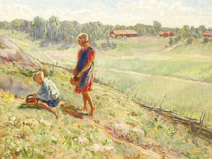Berry Picking Children a Summer Day, Alf Wallander