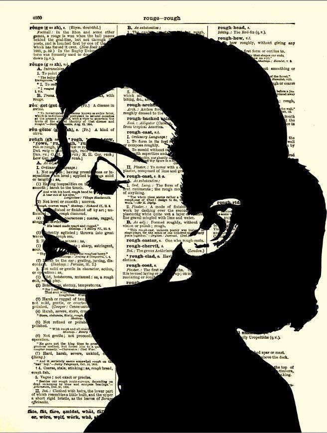 Audrey Hepburn Silhouette, Dictionary Art Print, Audrey Hepburn Print, Home Decor. $10.00, via Etsy.