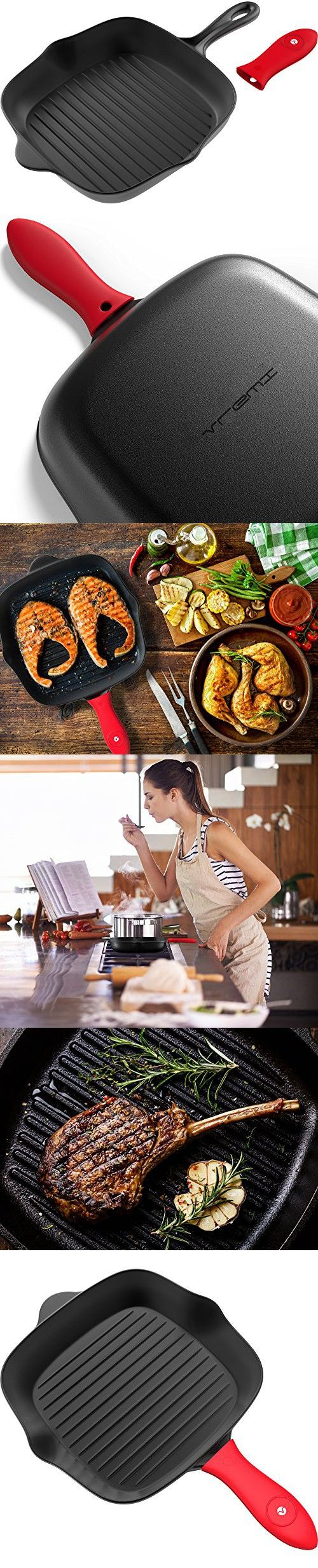 Vremi Grill Pan Cast Iron - Pre Seasoned Cast Iron Skillet Handle Cover - Stove Top Grill Pan Non Stick for Electric or Gas Stove - Indoor Grill Pan Cast Iron Cookware for Grilling Recipes