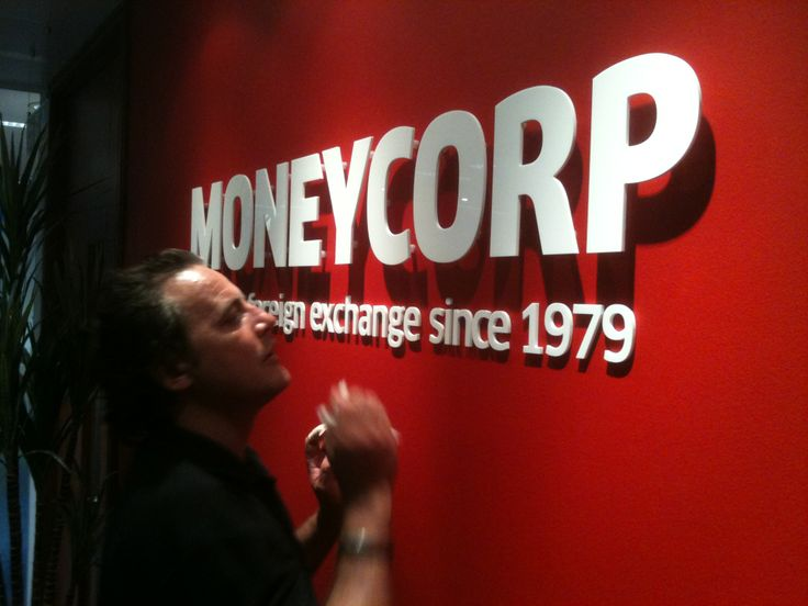 Internal office sign for Moneycorp, dibond on spacers. www.mustardsolutions.co.uk
