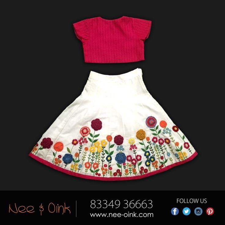 Multi floral white crochet lehenga. Price- Rs. 8,490. Fabric- 60% Cotton 40% Silk. #Lehenga #Fashion #Style #KidsWear #NeeAndOink