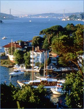 The narrow Bosphorus waterway divides Istanbul and separates two continents, Europe from Asia.