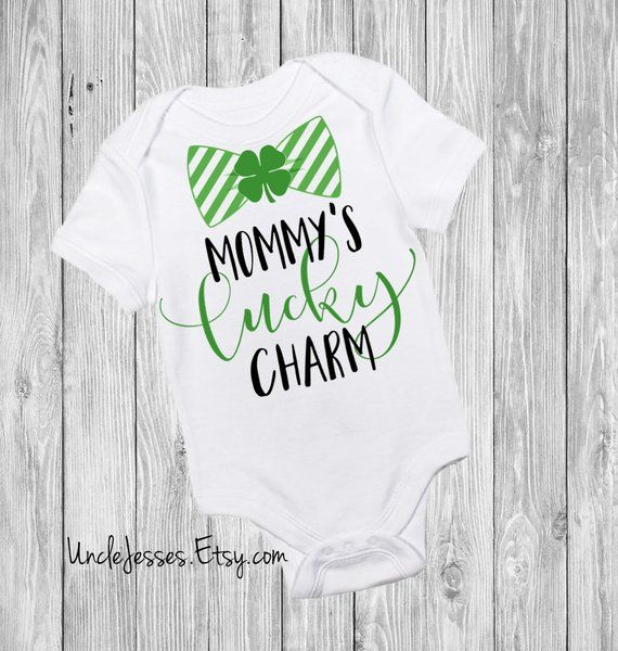 St Patrick\u2019s Day Lucky Charm Baby clothes Kids clothing Custom baby clothing Custom baby gift