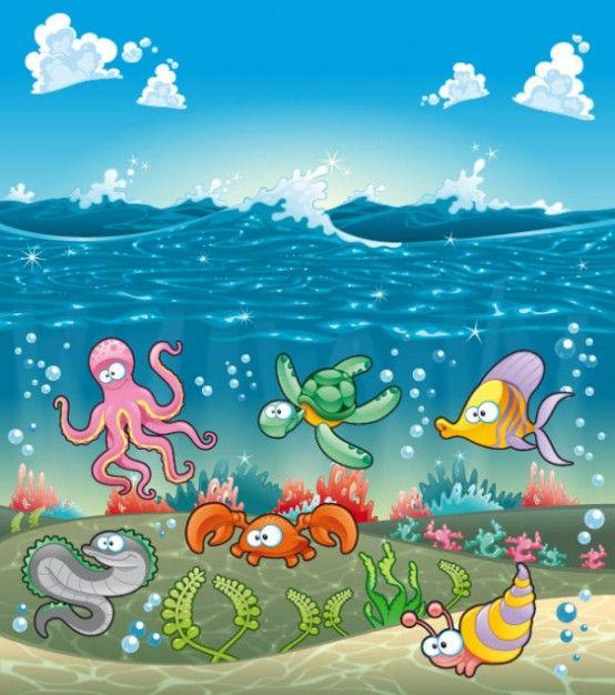 marinos animales de dibujos animados de vectores