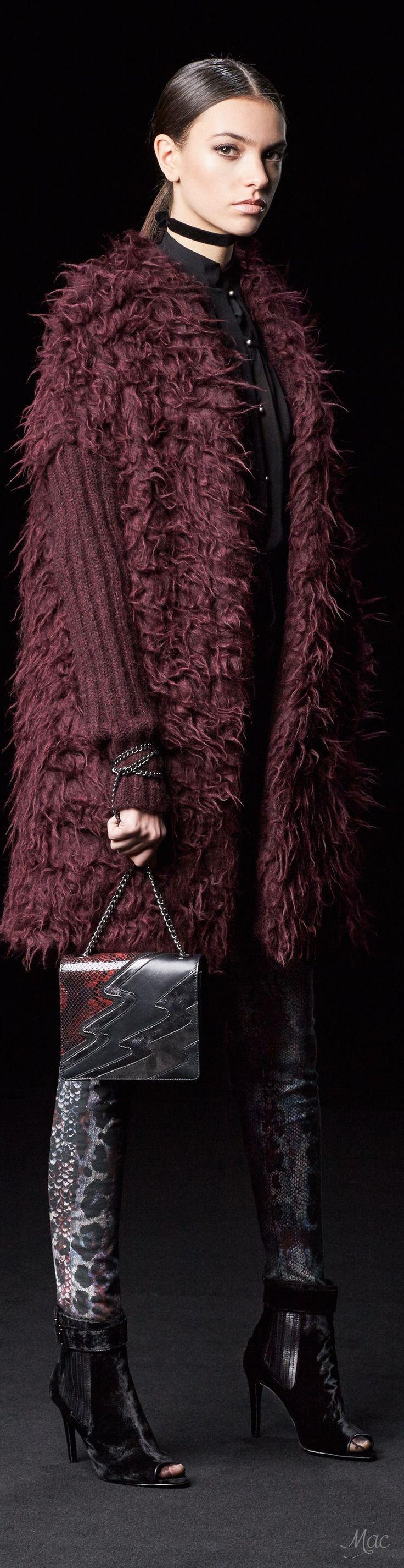 Just Cavalli Pre F-17: burgundy furry coat, black blouse, animal print pants, booties.