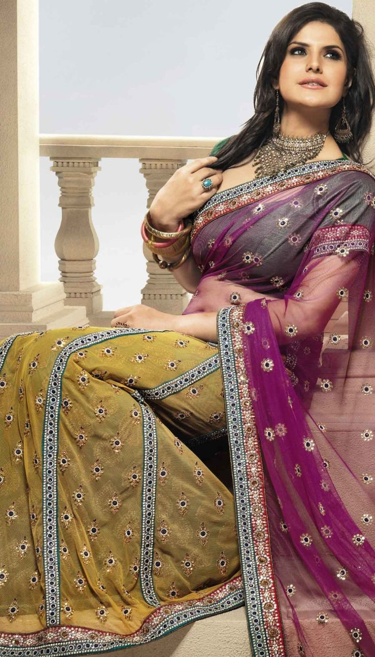 #Bollywood #ZarineKhan purple yellow net embroidered saree with unstitch blouse