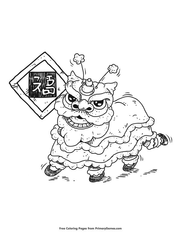 chinese new year coloring pages ebook dancing lion