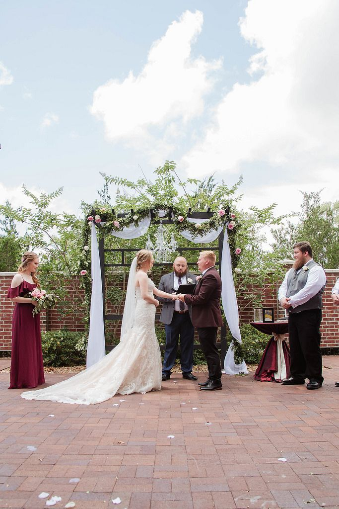 A Rose Colored Wedding At Noah S Event Venue In Dickinson Tx Noahs Event Venue Romantic Wedding Ceremony Wedding Ceremony Arch Wedding Ceremony Decorations