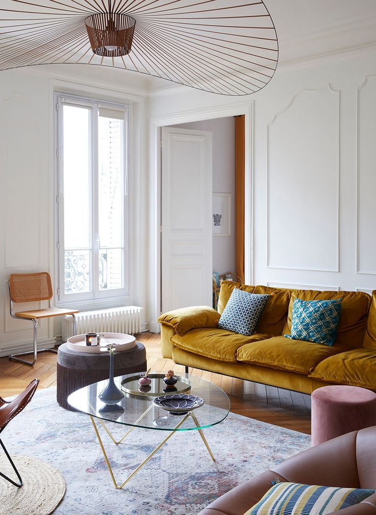This Parisian Apartment Will Make You Want A Velvet Sofa A Cup Of Jo Parisian Living Room Parisian Apartment Decor Country Living Room