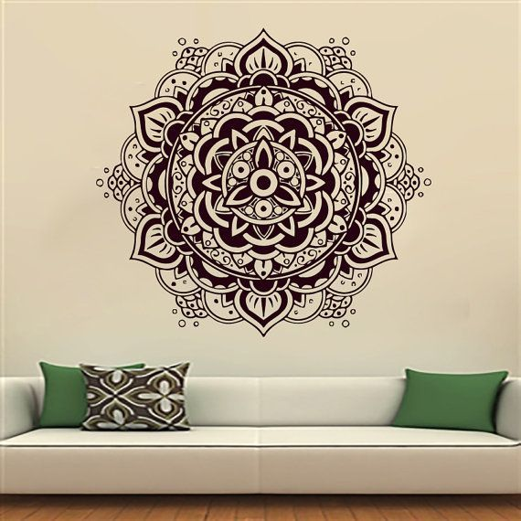 Bohe Mandala Flower Wall Paper Decor Yoga Studio Vinyl: Wall Decals Mandala Indian Pattern Yoga Oum Om Sign Decal
