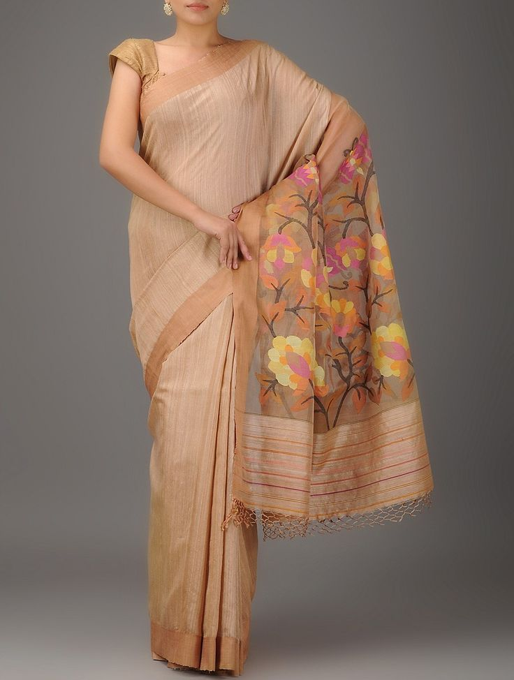 Buy Beige-Multicolor Jamdani Matka Silk Saree Online at Jaypore.com
