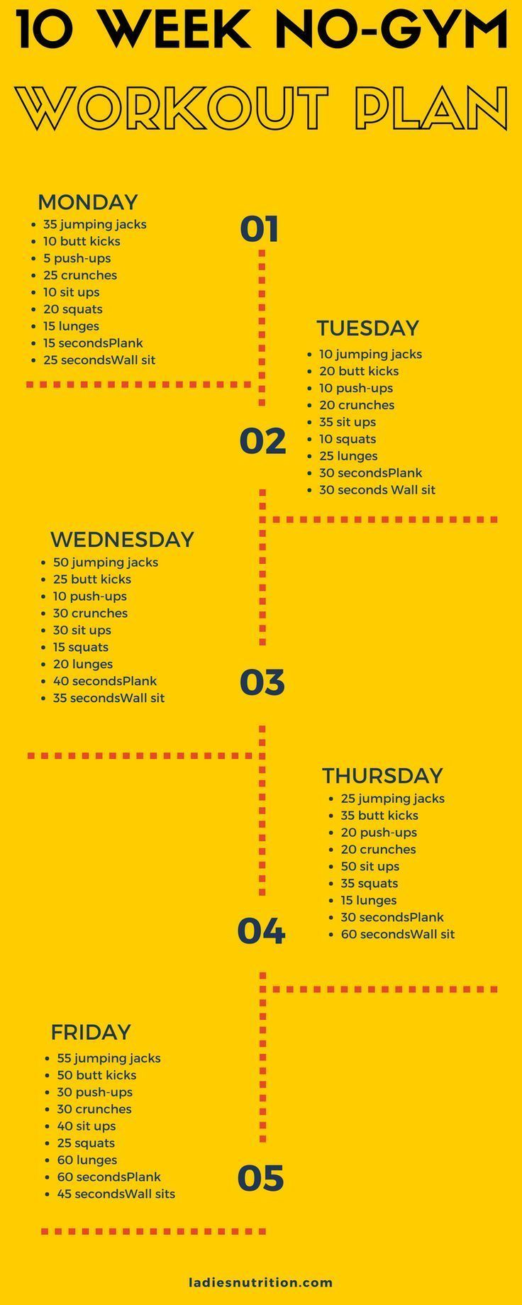 Regular workout is very important and each individual should workout no matter how busy they are. Since the start is the part that is most troublesome, we offer a home workout plan that you can begin with right now! It doesn�t require equipment, it is sim