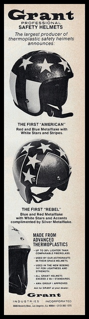 Grant Industries, 1971   My helmet!! Stolen in park lot at the races!!!   GnG