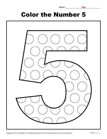 Color the Number 5 | K12 | Numbers preschool, Preschool ...