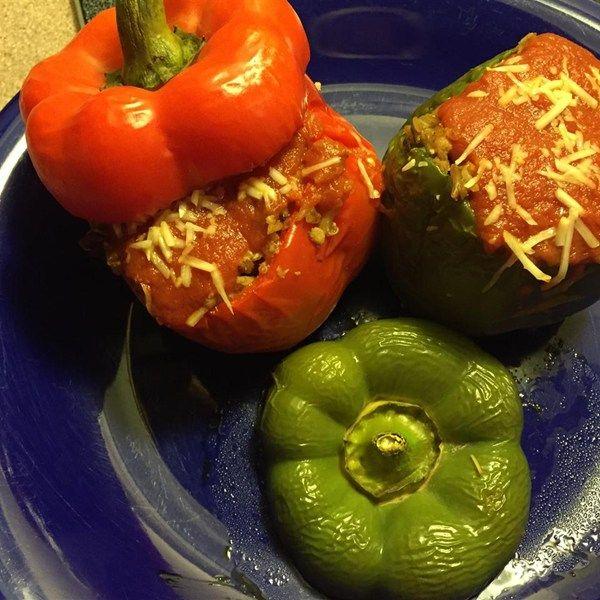Вегетарианские фаршированные перцы. #рецепты #вегетарианство #перец