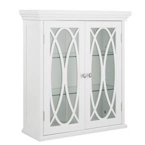 Add a touch of class to any room with the Florence Double Door Wall Cabinet. This piece comes with two adjustable tempered glass shelves to fit your storage needs, and its elegant design, punctuated by the satin nickel plated hardware, is sure to please the eyes. The white exterior gives the Florence Double Door Wall Cabinet a timeless quality.