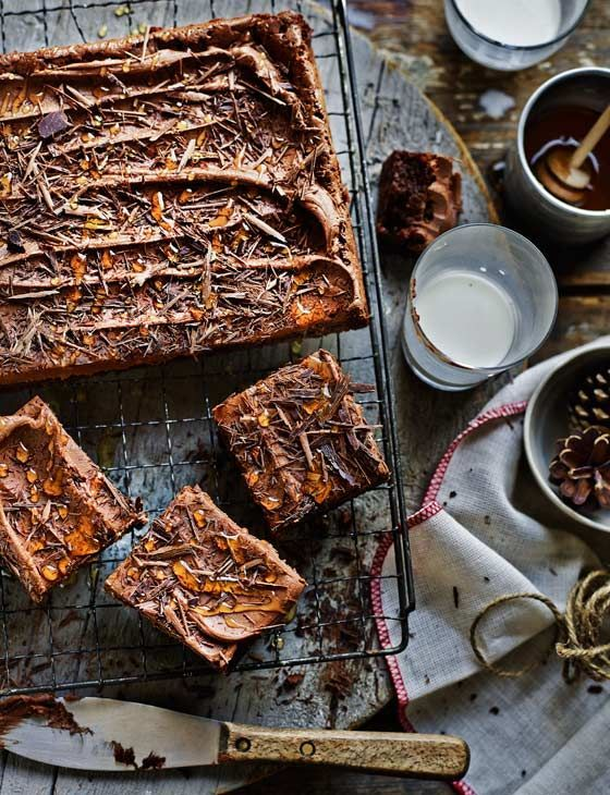Double chocolate fudge traybake with chocolate cinnamon frosting