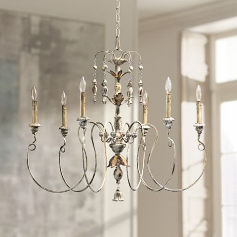 """Simple french inspired chandelier. Quorum Salento 6-Light 32"""" Wide Persian White Chandelier - #U3722   Lamps Plus"""
