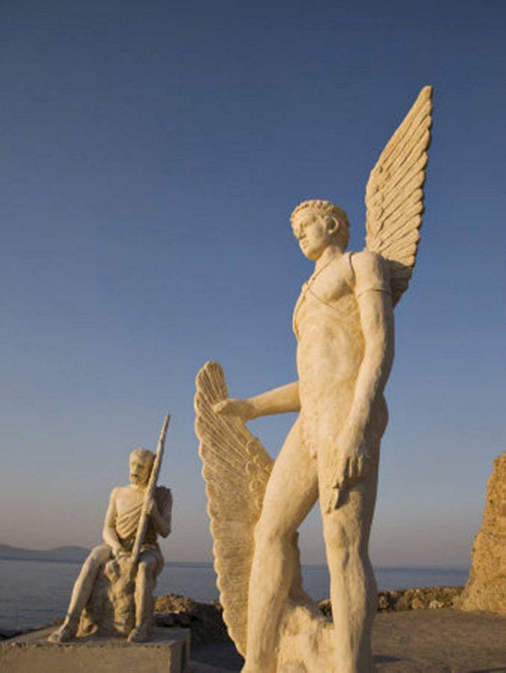 Dedalos & ikaros Marble Statues                               Agia Galini Crete Greece