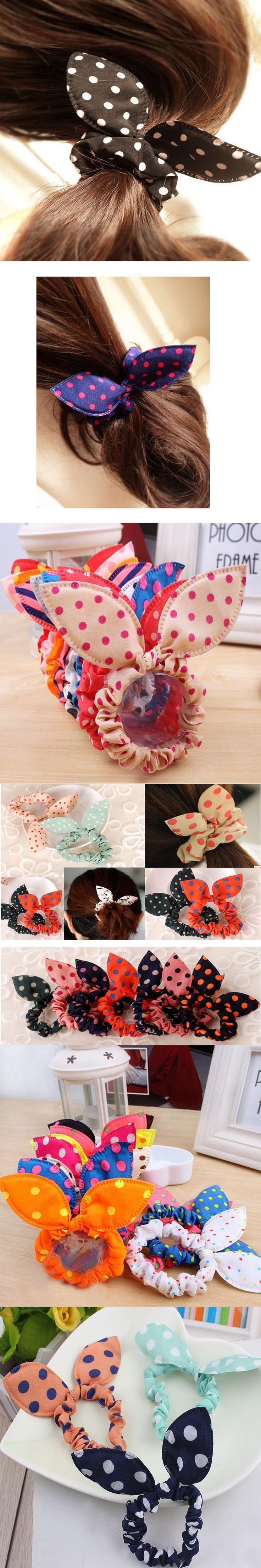 8Pcs/Lot Cute Women Flower Hair Elastic Rubber Bands Headbands Rabbit Ear Dot Headwear Elastic Hair Band Hair Ties Rope Scrunchy