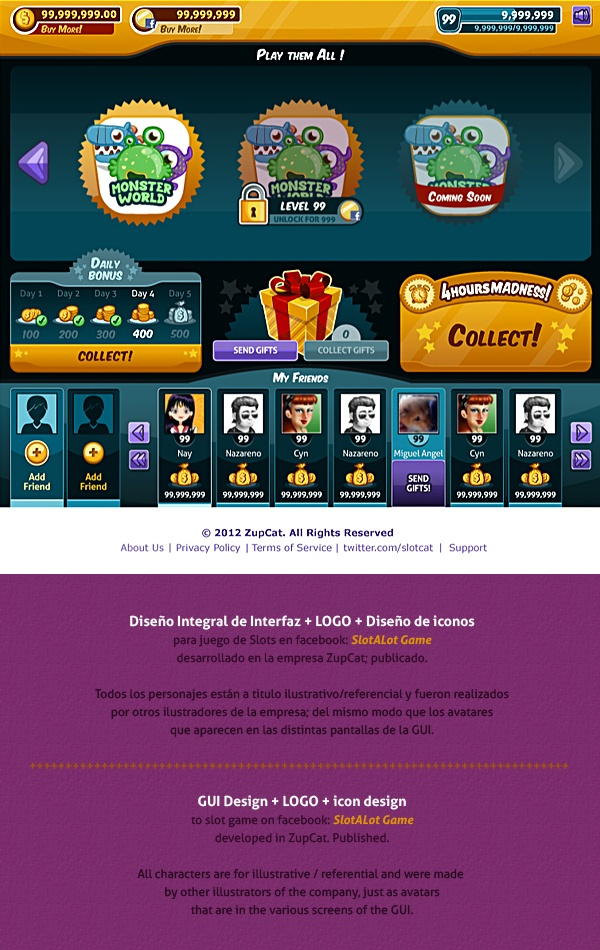 Slots Social Game | GUI Design by Naida Jazmín Ochoa, via Behance