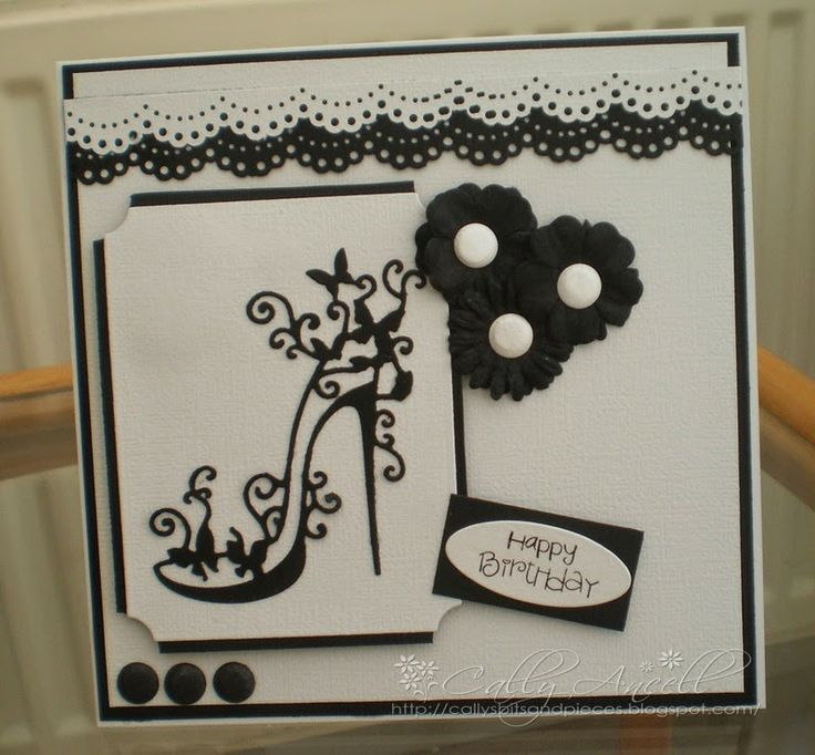 Monochrome card, tattered lace shoe & martha Stewart edge punch.