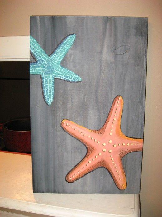 Starfish Painting on Wood