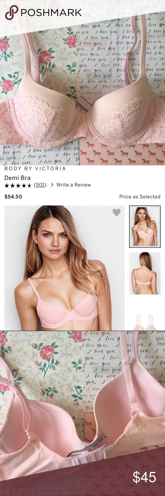USED ONCE Body by Victoria VS Lined Demi 36B Hi! I am selling this beautiful bra that I only got in February 2017!!! If you take a look at the Victoria's Secret website, you will see that this is listed as a new product that they came out with! I only used it once and realized that I had too many bras! You can also unsnap the back end of the strap to wear it as a cross body!!! If you want more details, please search the item up on the VS website! It has a lot more description that I can't…