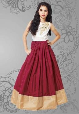 Red Silk Designer Party Wear Lehenga Choli For Girls (8-12 Years)