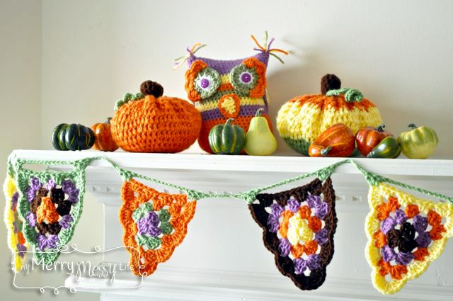 Crochet Mantel with Free Patterns for an Owl, Pumpkins and Granny Triangle Bunting