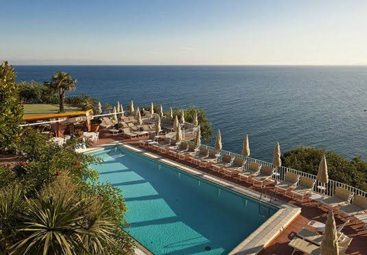 Peaceful spa hotel with a private beach and spectacular views overlooking the Gulf of Naples