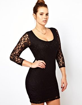 Image 4 of ASOS CURVE Mini Dress In Lace. I like it on her...idk how I feel about the lace on me.