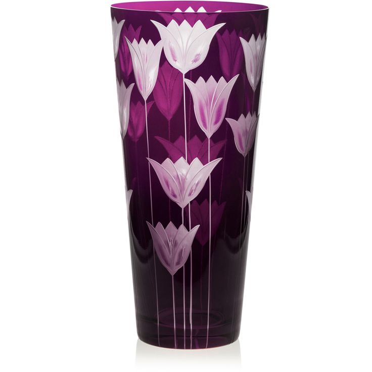 VIOLET | Handmade Glass Blown Cone Vase, Tulipa-Violet 6090, height: 290 mm | top diameter: 140 mm | Bohemian Crystal | Crystal Glass | Luxurious Glass | Hand Engraved | Original Gift for Everyone | clarescoglass.com