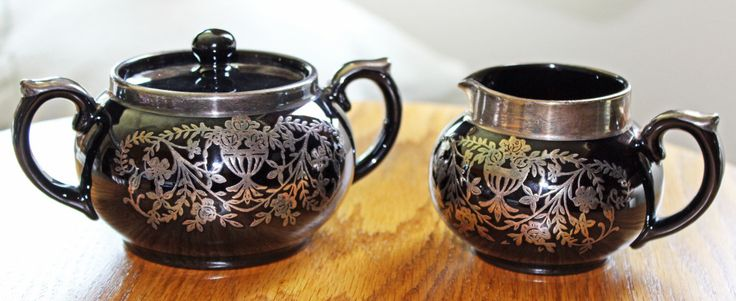 Cream & Sugar Set Gibson England Pottery Matching Cream Pitcher Sugar Bowl Black With Silver Luster Circa 1910 Bottom Mark Xcelnt Condition by PastThatLasts on Etsy https://www.etsy.com/listing/464970831/cream-sugar-set-gibson-england-pottery